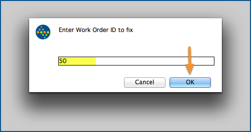 Enter a Work Order ID to fix.