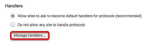 """In the pop-up menu window, scroll down to the """"Handlers"""" section and click """"Manage Handlers."""""""