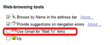 """Scroll down to the """"Web-browsing tools"""" section."""
