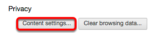 """Under the """"Privacy"""" header, click the """"Content Settings"""" button."""