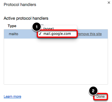 "Select Gmail from the ""mailto"" drop-down menu. Then click done."