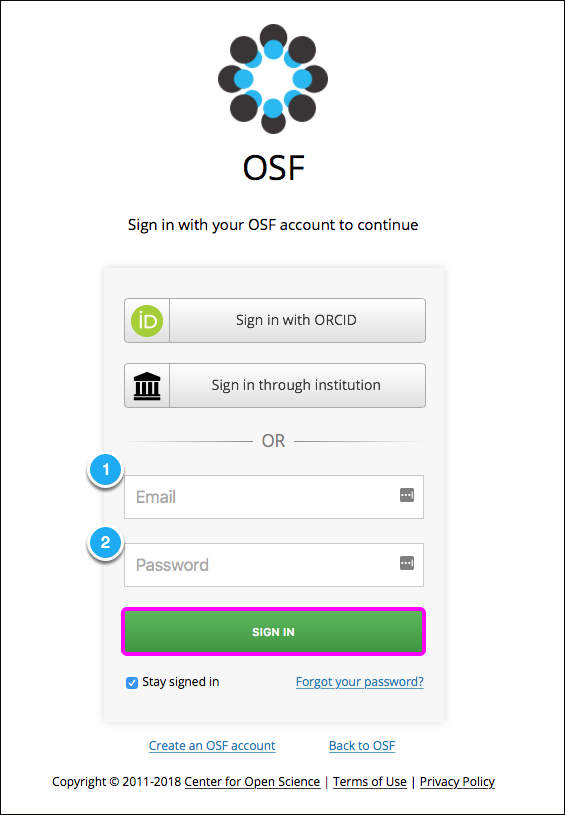 The OSF Sign In Page