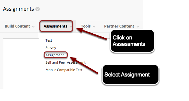 Image of the Assessments Menu with Assessments highlighted and with instructions indicating to click on Assessments.  The menu is open, with Assignment outlined with a red circle, and instructions to select Assignment