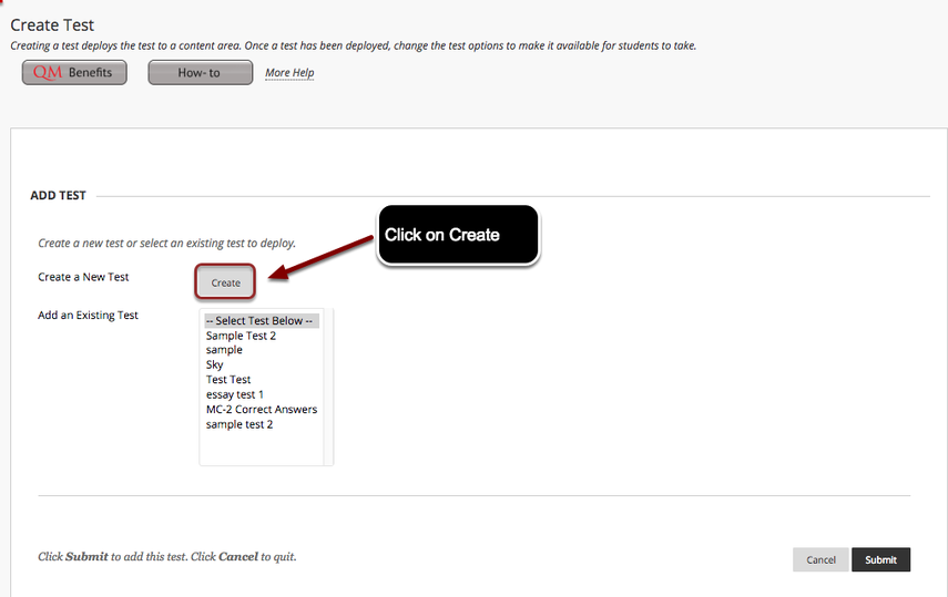 Image of the Create Test screen with the Create button next to Create a New Test highighted with a red circle with instructions to click on Create