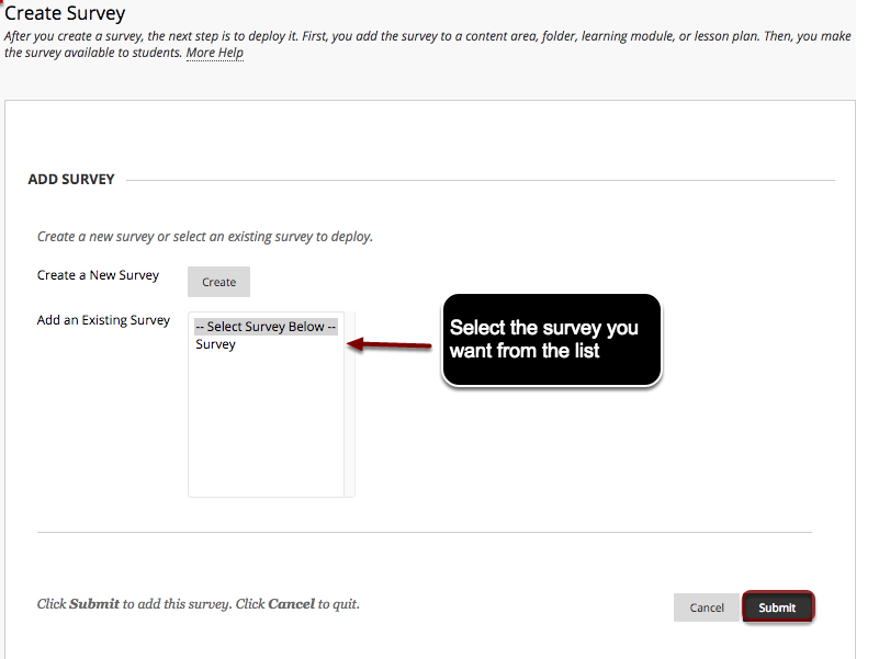 Image of the create survey screen with an arrow pointing to a survey name under Add an existing survey, with instructions to choose the desired survey from the list.  A red circle outlines the submit button at the bottom of the page.