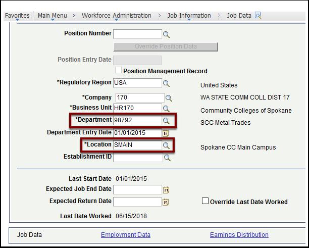 Job Data page