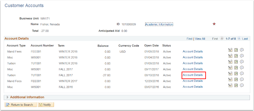 Customer Accounts - Account Details link highlighted