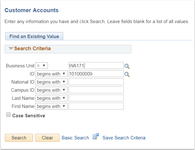 Customer Accounts - Find an Existing Value tab