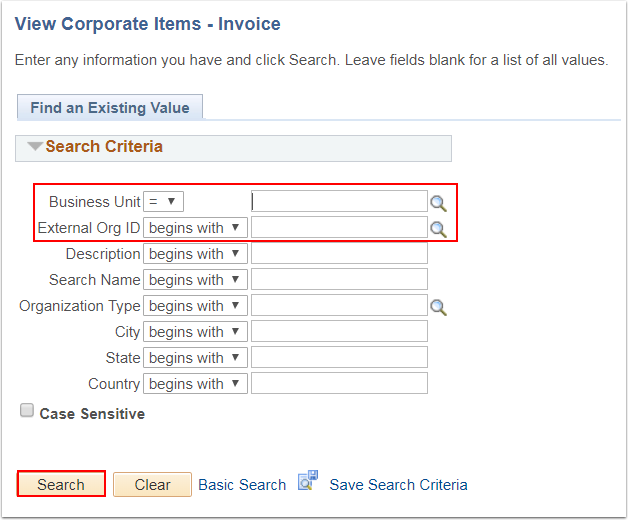 View Corporate Items Invoice page - Find an Existing Value tab