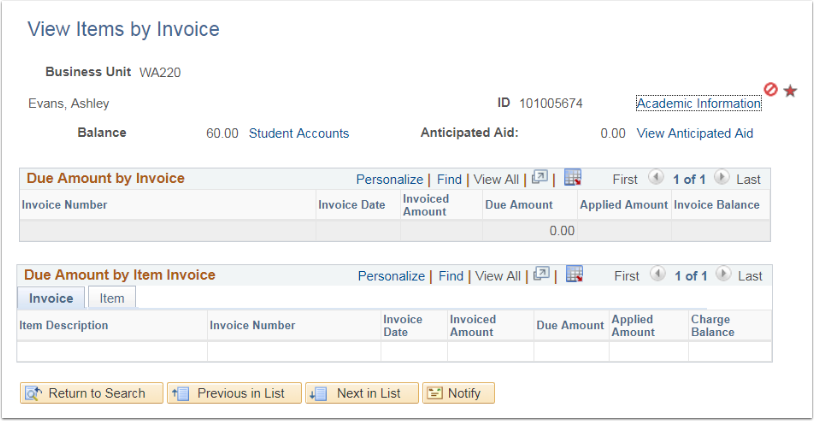 View Items by Invoice page - Student Information