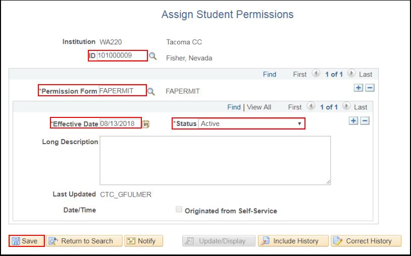 Assign Student Permissions - Active Status