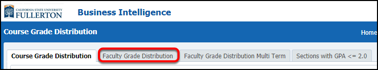 Faculty Grade Distribution select