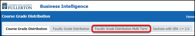 Faculty Grade Distribution Multi Term select