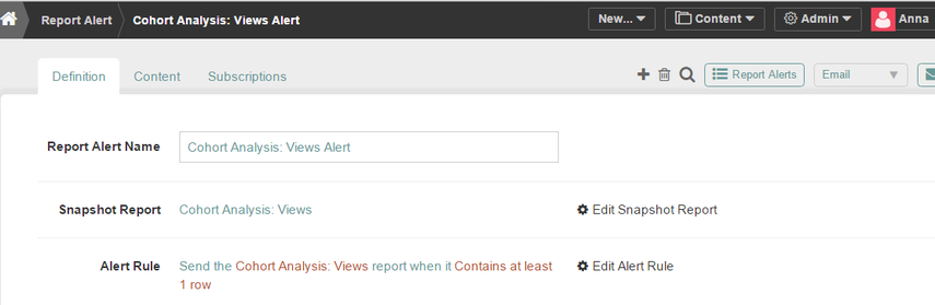 Link to Report Alert screen for modification