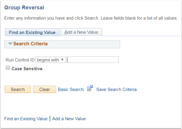 Group Reversal Page - Find an Existing Value or Add a New Value tab