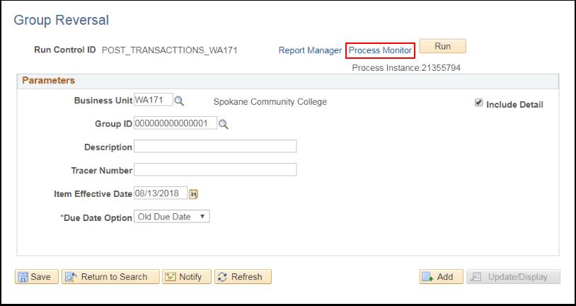 Reversal page Process Monitor