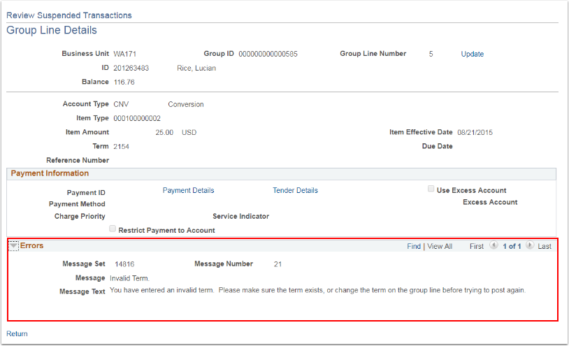 Review Suspended Transactions page - Group Line Details - Errors section highlighted