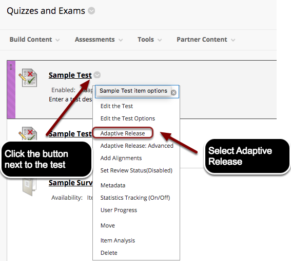 Image showing a test with an arrow pointing to the expand contextual menu button located next to the test name, with instructions to click the button next to the test.  In the menu, Edit the Test Options is outlined with a red circle with text instructing users to select Adaptive Release.