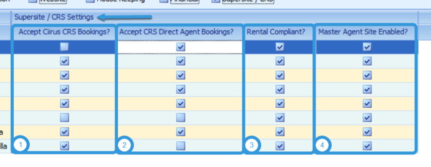 SuperSite / CRS Settings