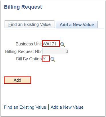 Billing Request Add a New Value tab