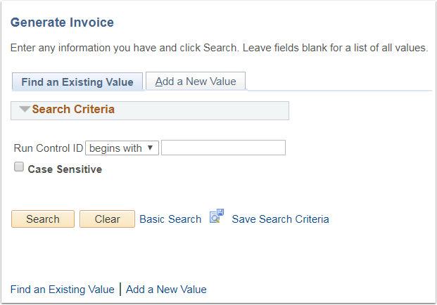 Generate Invoice Find an Existing Value tab
