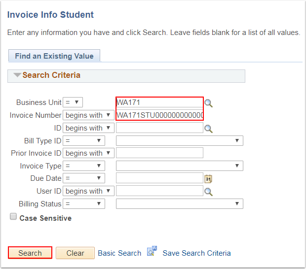 Invoice Info Student page Find an Existing Value tab