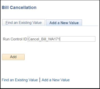 Bill Cancellation Add a New Value tab