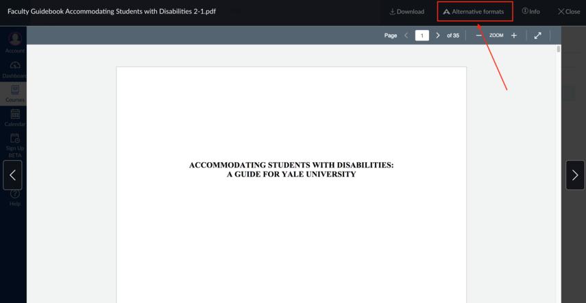 screenshot of alternatives formats