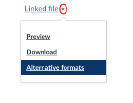 image of alternative formats drop down