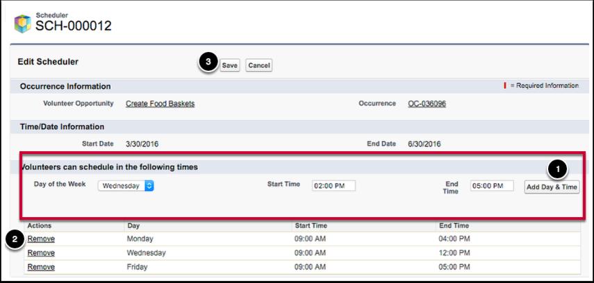Scheduler Edit Page