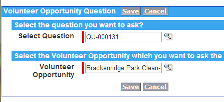 Saving your Volunteer Opportunity Question
