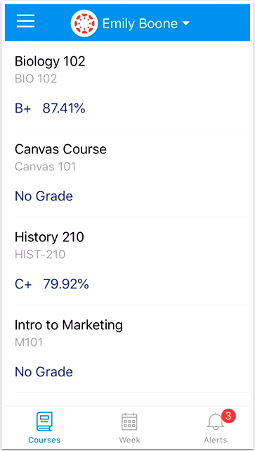 Image of a student's grades in the Parent app