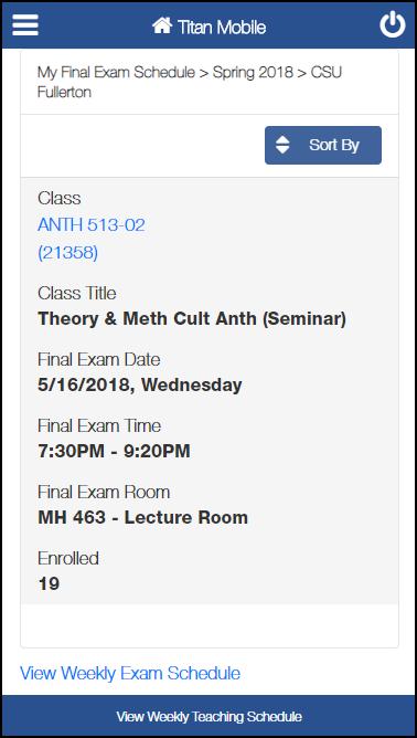 My Final Exam Schedule screen