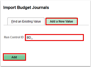 Import Budget Journals page