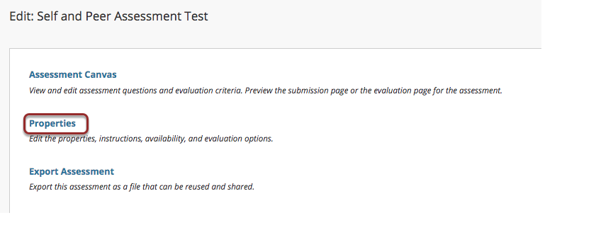 Image of the Edit: Peer Evaluation screen with the Properties option outlined with a red circle.