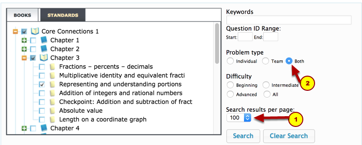 5. Choose search results per page and problem type.
