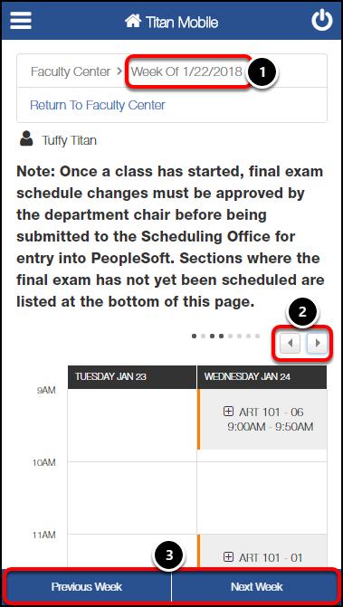 View Weekly Teaching Schedule screen