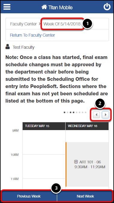 View Weekly Exam Schedule screen