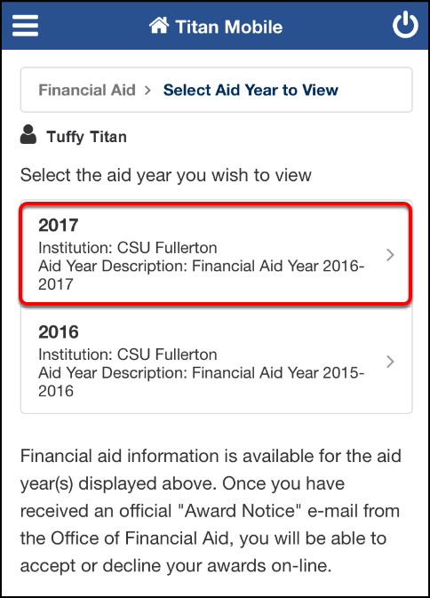 Financial Aid select year screen