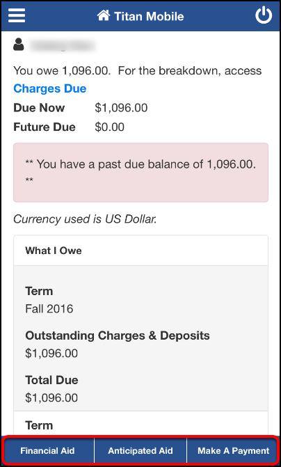 Student Financials Account Summary screen