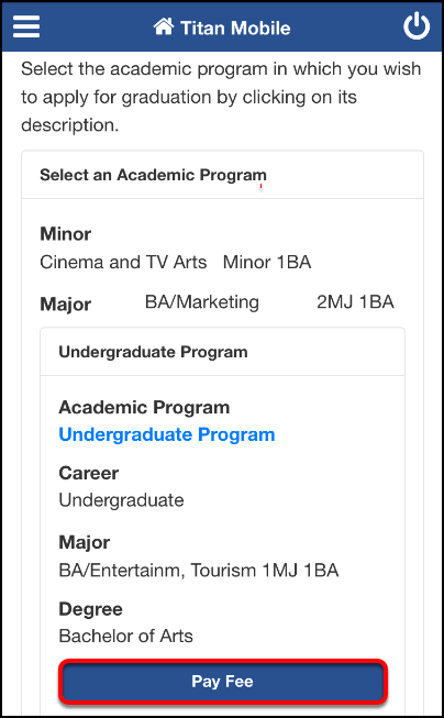 Apply for Graduation screen