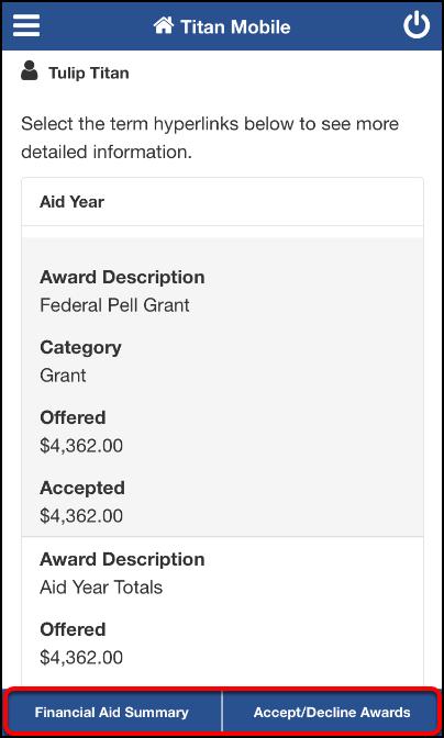 Financial Aid Details screen