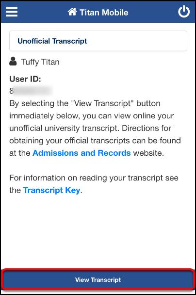 View Transcript screen