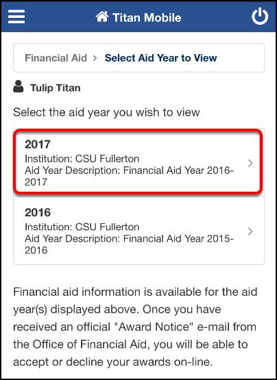 Financial Aid Account Summary screen