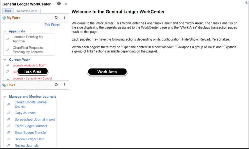 General Ledger WorkCenter page