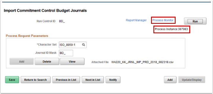 Import Control Budget Journals page with process instance