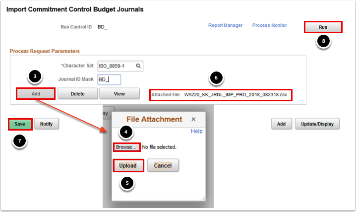 Import Commitment Control Budget Journals page