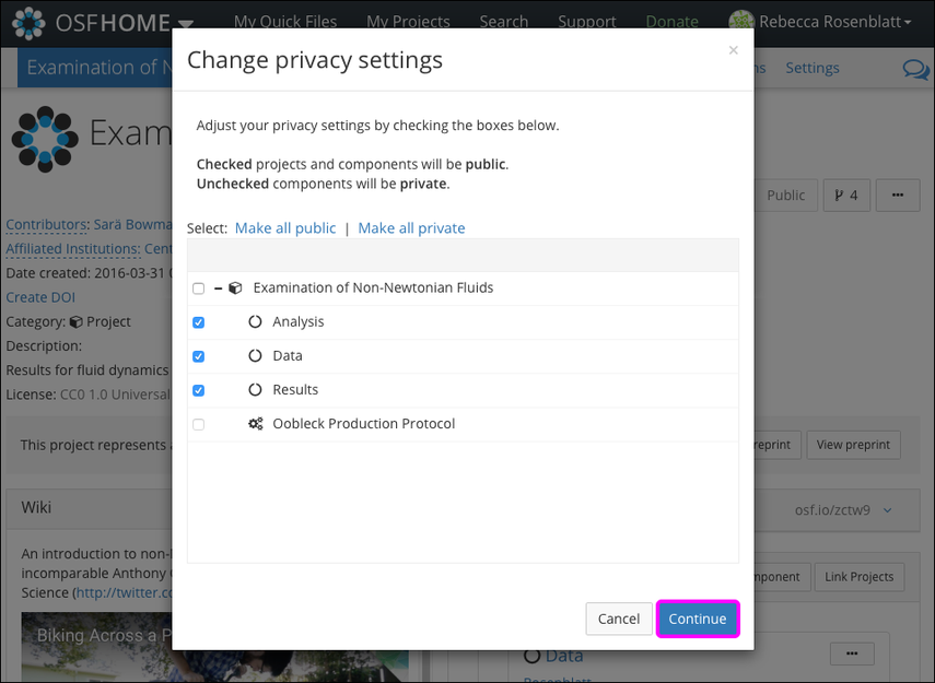 "The ""Change privacy settings"" Modal"