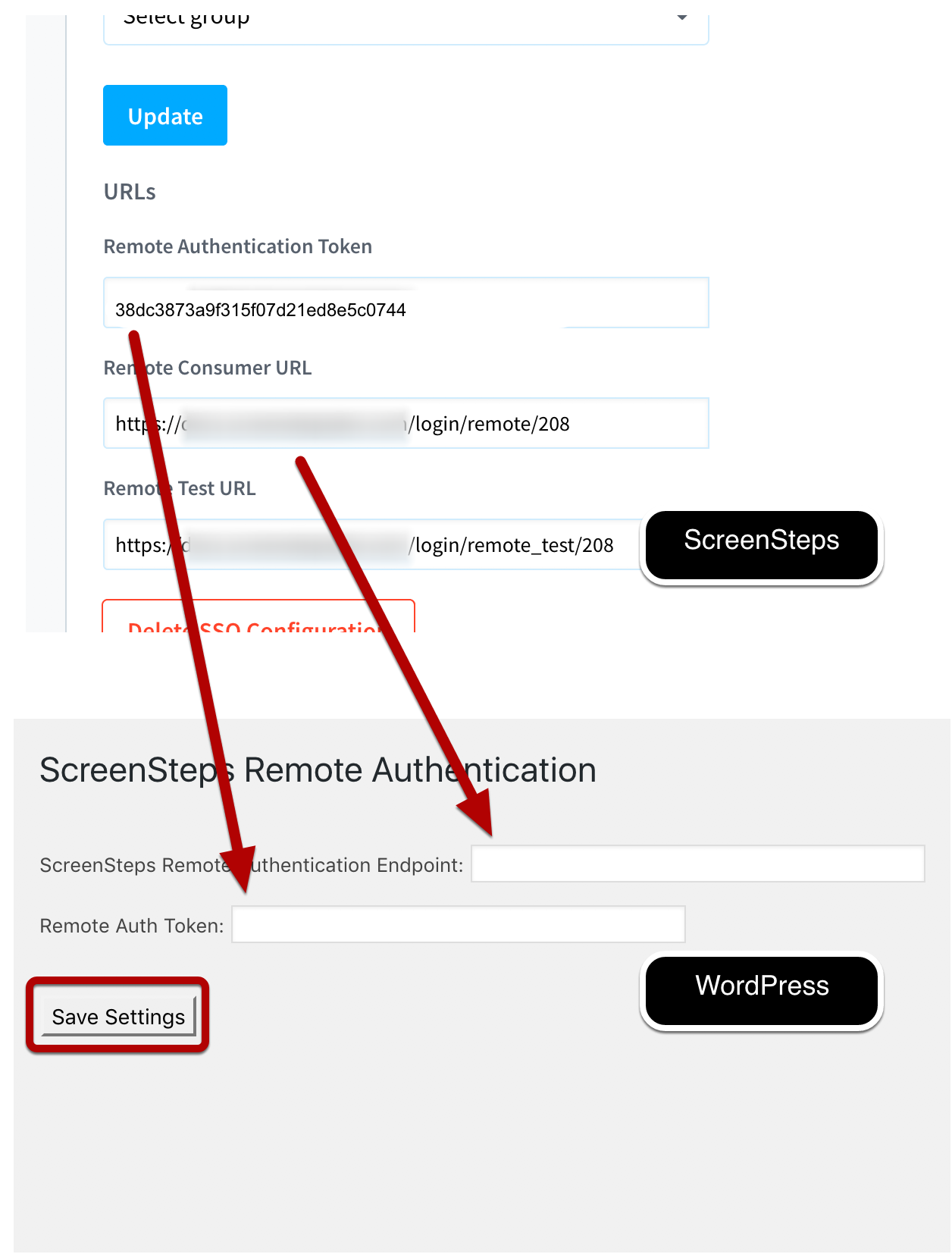 Add Remote Authentication Token and Remote Consumer URL to WordPress Plugin