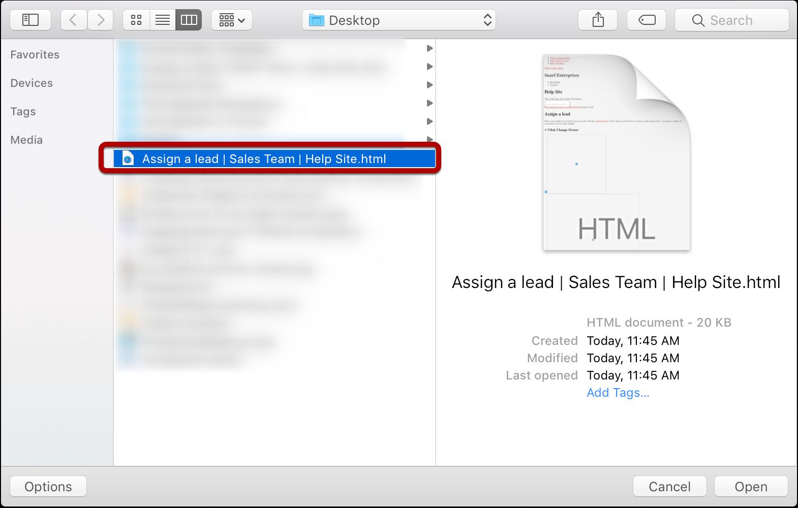 Select HTML file